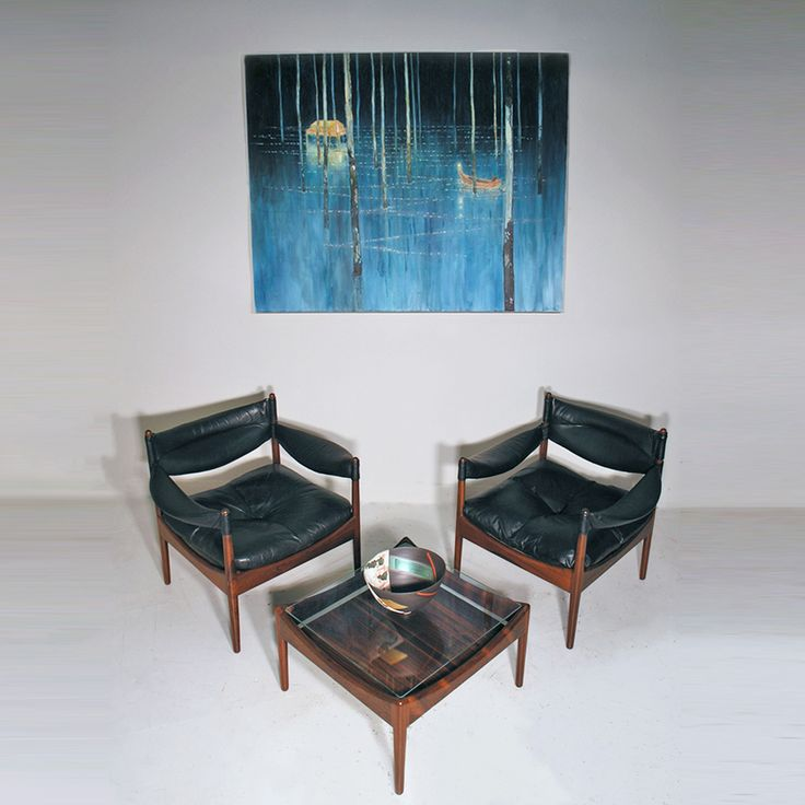 Kristian Vedel rosewood and leather Modus suite, and painting by Daniel Ablitt. http://www.midcenturyhome.co.uk