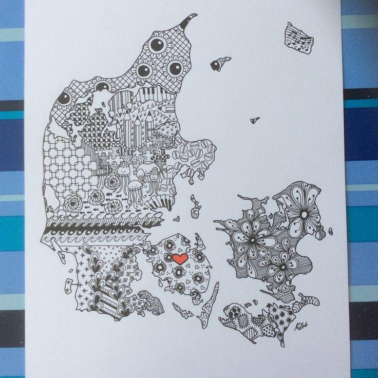 Danmark med ❤️ i Odense tegnet af kreatossen. Se flere billeder og størrelser på www.kreatossen.dk