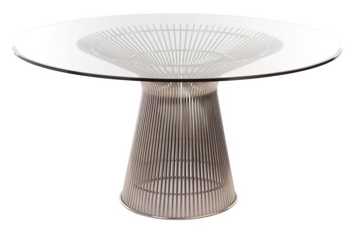 Matbord Design: Warren Platner På 60-talet, Warren Platner omvandlas ståltråd till en skulptural möbelkollektion, vilket skapar en design ikon i modern tid. Det unika med möbler och harmoniska former är resultatet av svetsstålstänger med krökta former, vilket skapar en effekt moiré och få den dekorativa, mjuka, behagfull kvalitet som Platner avsedd att uppnå.