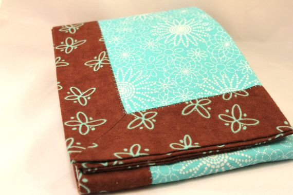 Double Layer Turquoise/Brown Receiving Blanket  by KRaeDesign