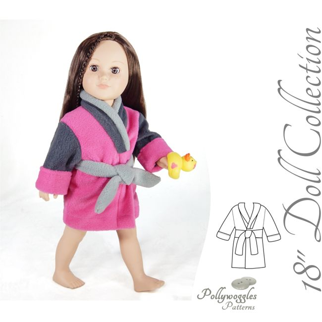 "18"" Doll version of the Finley & Quinn fleece robe pattern"