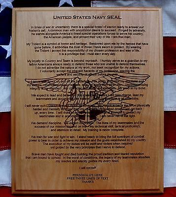Personalized U.S. NAVY SEAL CREED PLAQUE, Graduation Gift Naval Special Warfare
