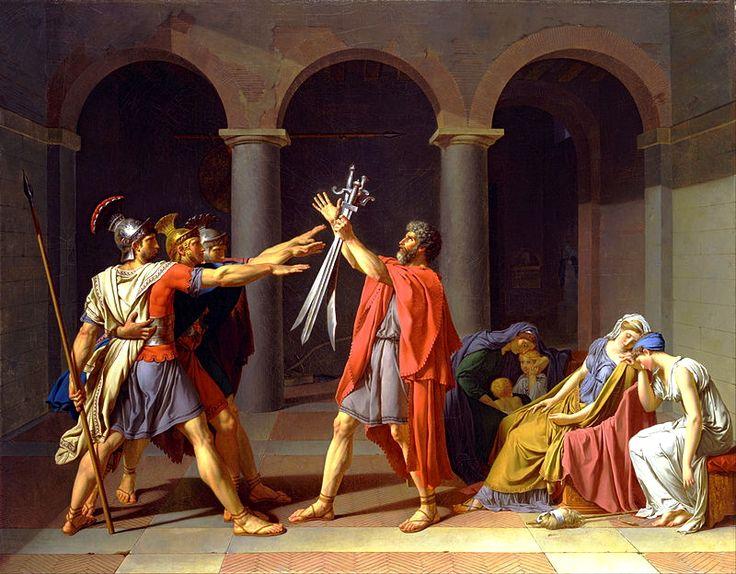 """Jacques-Louis David en """"El juramento de los Horacios"""". 1784. Musée du Louvre."""