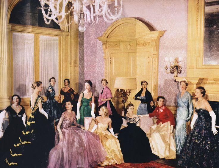 Queen Elizabeth II's coronation parade shot in Norman Hartnell's grand salon, circa 1952