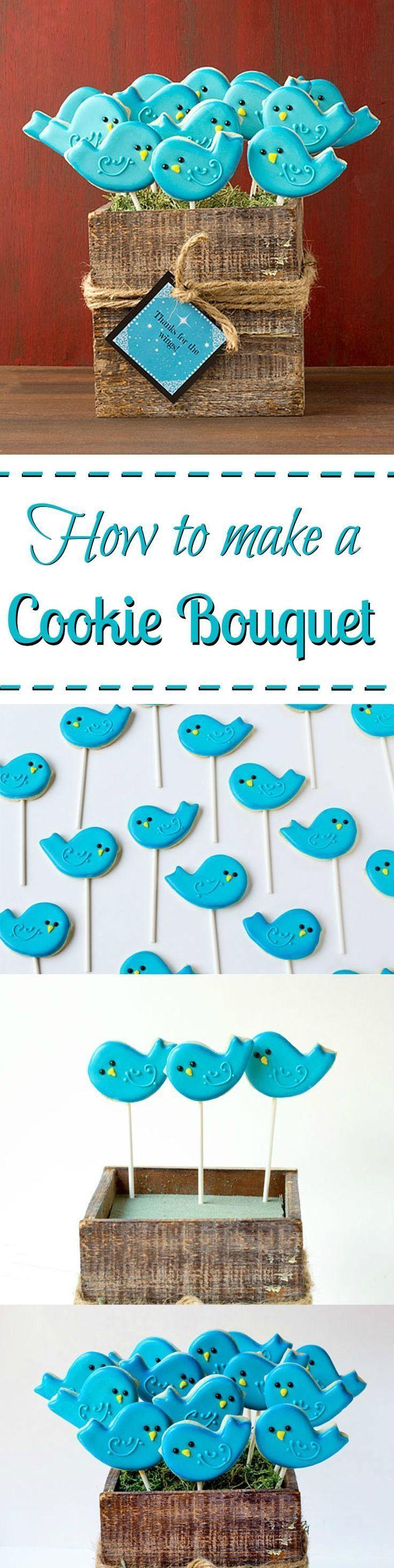 How to make a simple cookie bouquet   The Bearfoot Baker   #bearfootbaker #decoratedcookies #edibleart #cookieart #royalicing #rolloutcookies #simplecookietutorial #birdcookies #cookiebouquet