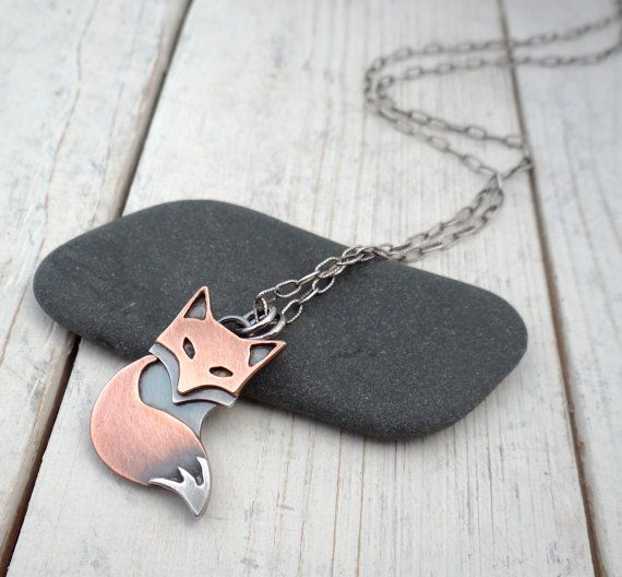 Rustic Fox Pendant // handmade mixed metal by LostSparrowJewelry