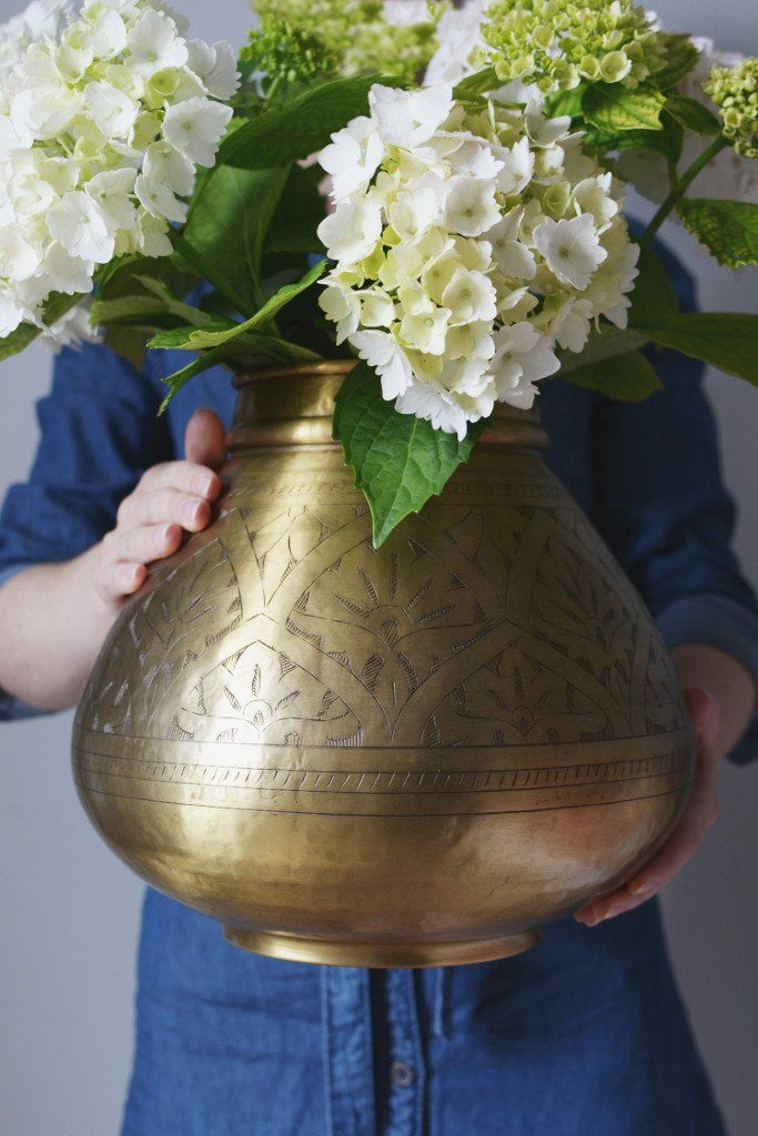 Hand-etched brass pot: round  From Decorator's Notebook Shop