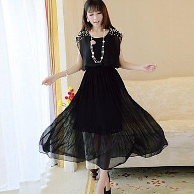 Women's Fashion Round Neck Solid Color Pearls Chiffon Long Dress – GBP £ 12.05