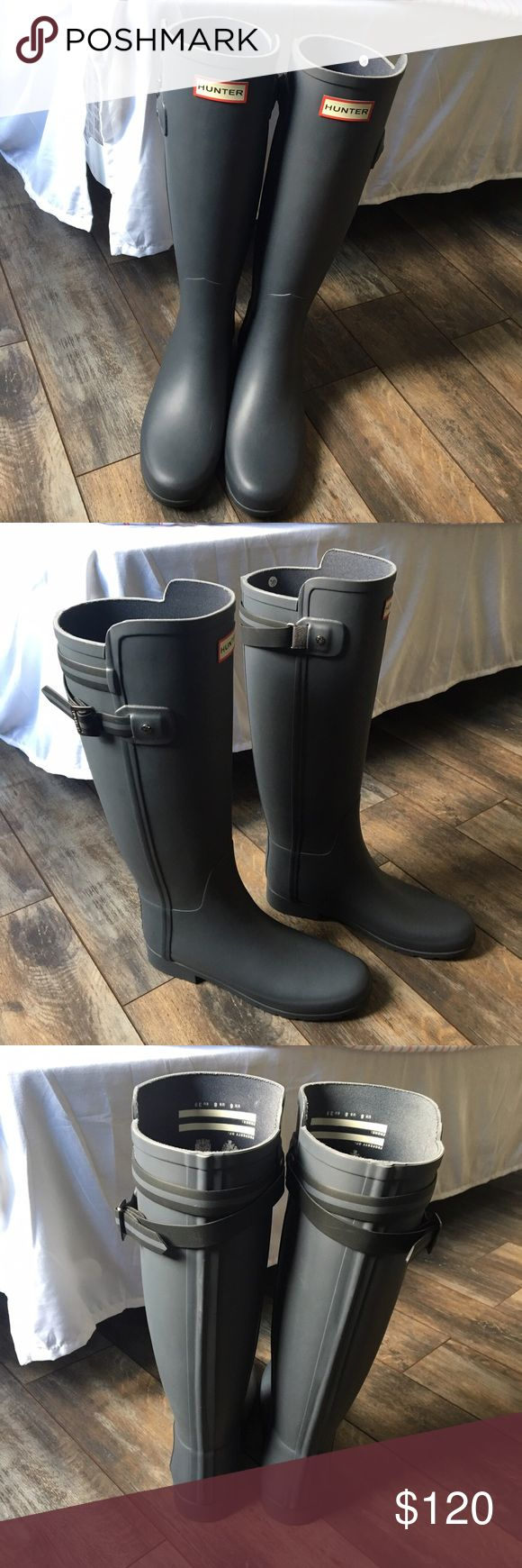 Tall Grey Hunter Boots Wore once and decided I wanted the tall glossy black hunter boots instead Hunter Shoes Winter & Rain Boots