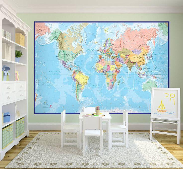 giant world map mural blue ocean by maps international | notonthehighstreet.com
