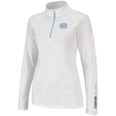 North Carolina Tar Heels (UNC) Womens Studio Quarter Zip Long Sleeve T-Shirt - White