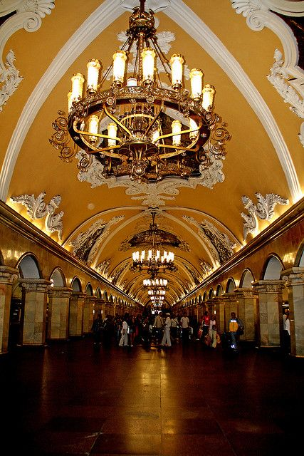 Moscow, Russia - this is a subway station and many of the older stations are just as grand.