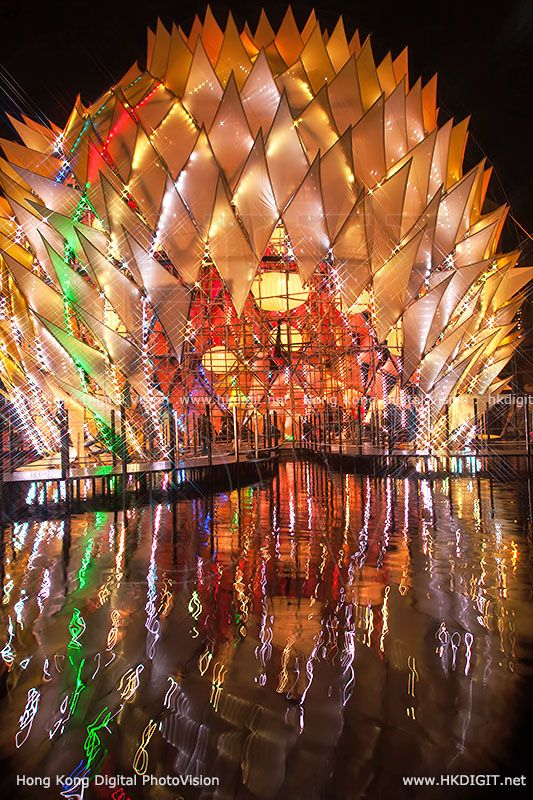 Lee Kum Kee Lantern Wonderland in Hong Kong  features an LED light and sound show.The structure is constructed of bamboo, steel, stretch fabric and LED lights.