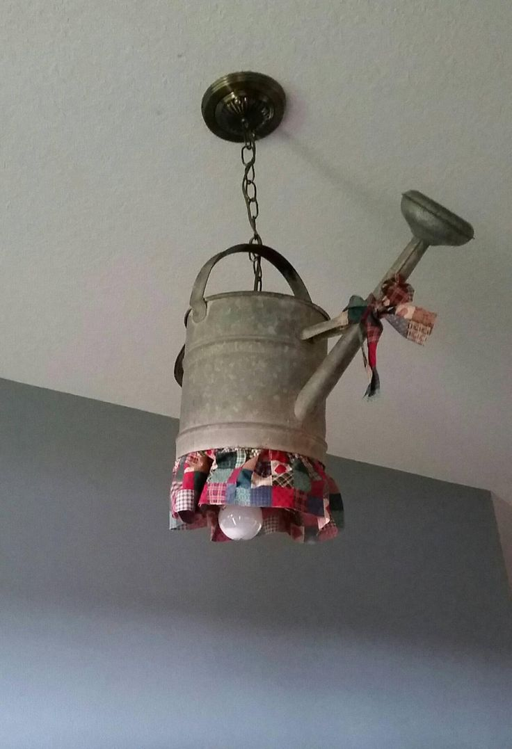 homemade lighting fixtures. watering can light fixture i use it in my foyer homemade lighting fixtures