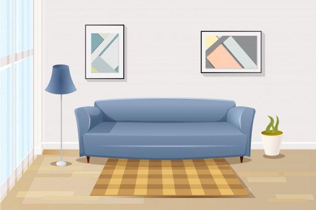 Comfortable Sofa In Living Room Cartoon Vector Comfortable Living Room Furniture Living Room Background Living Room Furniture