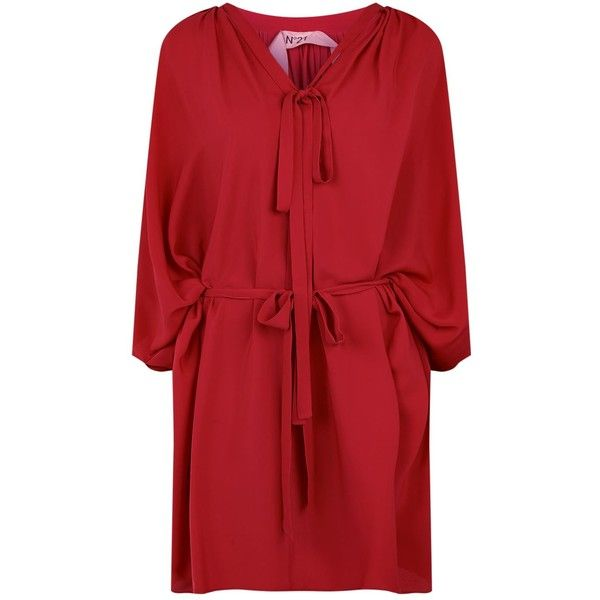 N°21 Batwing Kaftan Dress (€570) ❤ liked on Polyvore featuring dresses, low v neck dress, red dress, batwing dress, kaftan dresses and red kaftan