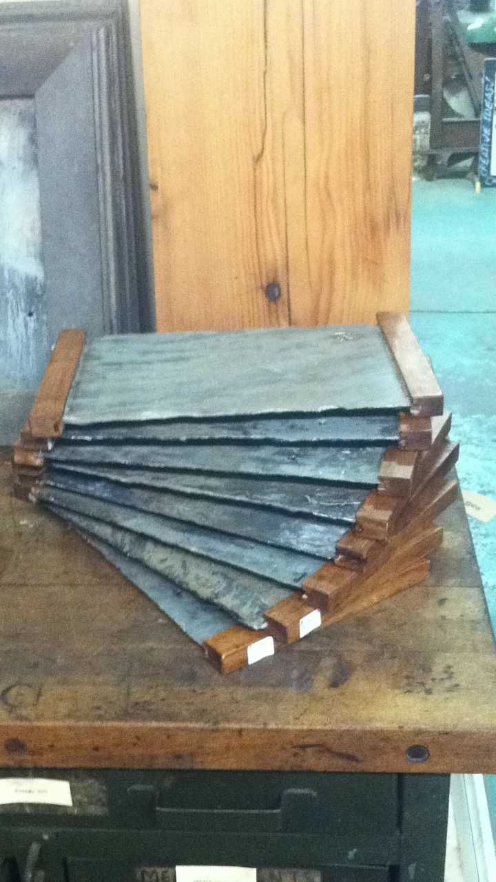 Reclaimed slate shingle cheese boards with reclaimed wood handles. Fabricated right here at Philadelphia Salvage Co. $26.50