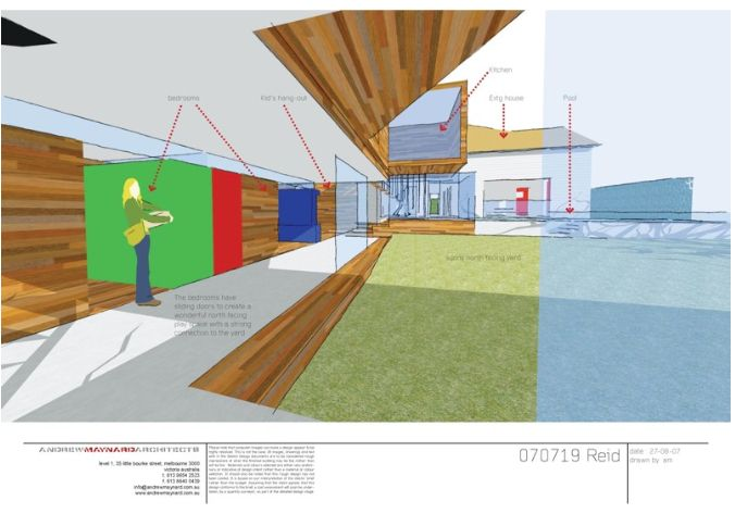 Reid house, internal sketch, use of colour exaggerated, use of figure to communicate scale in block colour form, use of labels to show rooms.   http://www.maynardarchitects.com/Site/houses/Pages/Reid_House.html#0
