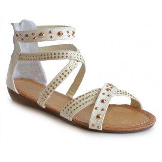 Sandalia Tachuelas Blancas - 11€ - http://www.calzadospayma.com/2383-1-cruz-tachuelas-blanco-.html