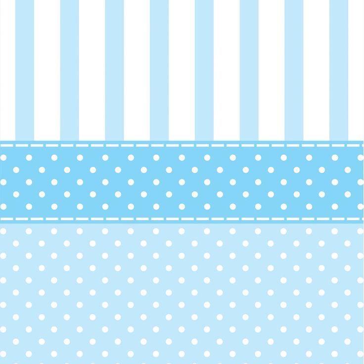 Papel De Parede Bolinhas Brancas Sobre Tons Claros de Azul Alternadas com Listras Azuis Sobre Branco - Papel de Parede Digital