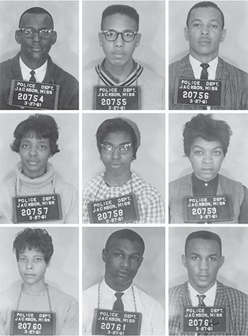 Arrested for entering a public library. The Tougaloo Nine: (From top left) Joseph Jackson Jr., Albert Lassiter, Alfred Cook, Ethel Sawyer, Geraldine Edwards, Evelyn Pierce, Janice Jackson, James Bradford, and Meredith Anding Jr. Photos: Mississippi Department of Archives and History