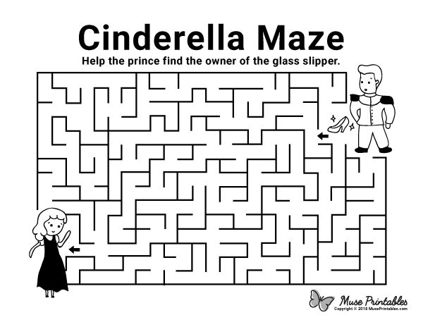 Free printable Cinderella maze. Download the maze and