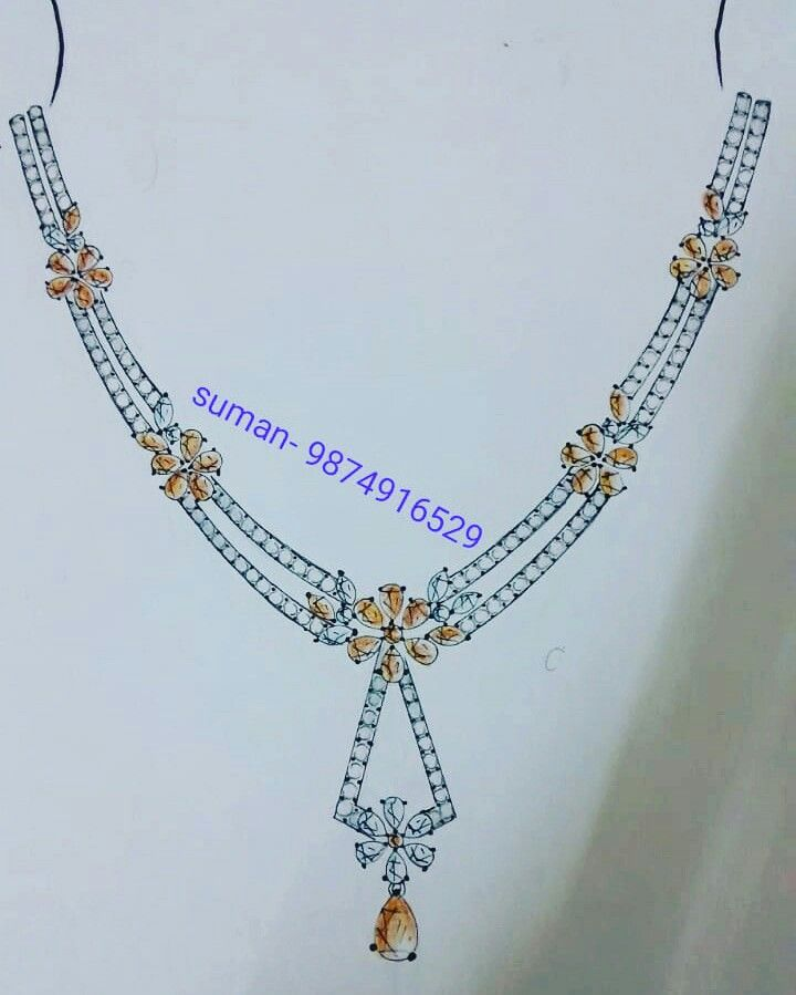 Jewellery Design Manual Sketch Necklace In 2020 Jewellery