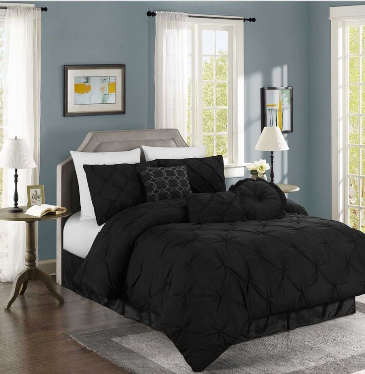 Amazon.com: Chezmoi Collection Sydney 7 Piece Pintuck Bedding Comforter Set  (Queen