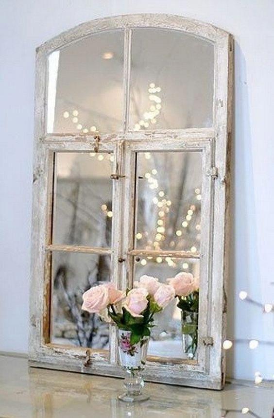 Shabby Chic Window Frame Mirror. #shabbychic | Shabby Chic | Vecchie ...