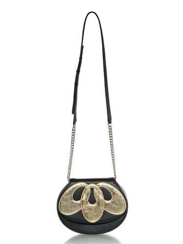 Black-golden Retro Lotus Fold-over Flat Top Full-grain Leather Shoulder Bag