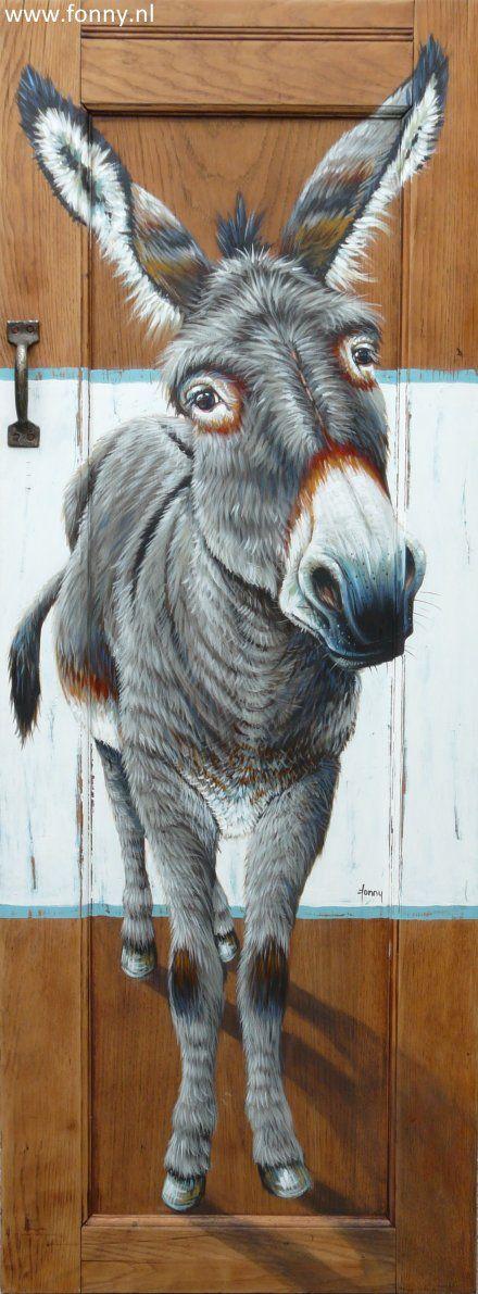 Ezel op kastdeur 3 / Donkey on a cupboard door 3 - 57 x 152 cm | ezel | dieren | schilderij | oud hout | deur | boerderij | donkey | animals | painting | old wood | door | farm |