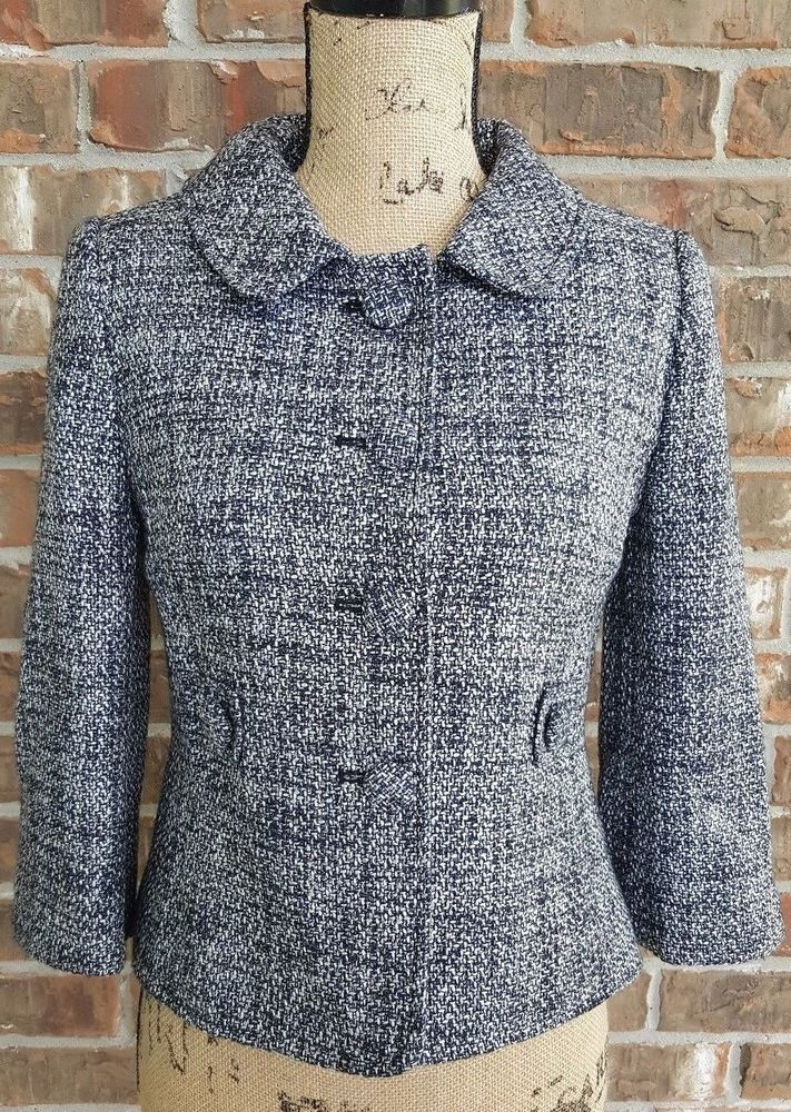 Ann Taylor Black and White Lined Button Up Blazer Jacket Size 0 #AnnTaylor #ShortPeacoat