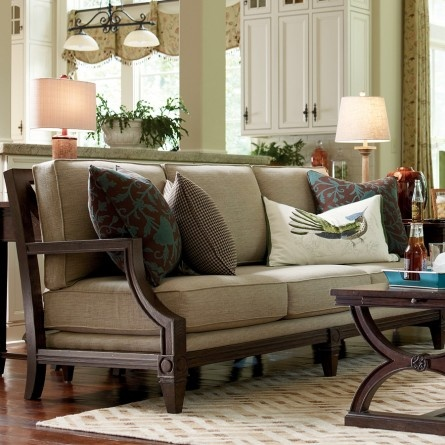 HGTV HOME™ FURNITURE COLLECTION WOODLANDS WOOD ARM SOFA   LIVING ROOM COUCH  BY DESIGN STAR