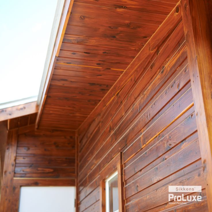 Featuring sikkens proluxe cetol srd in redwood log for Types of wood siding for homes