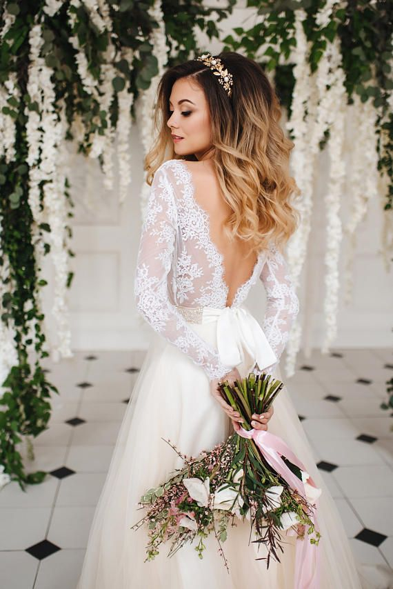 Classic bridal dress Custom dress Short Wedding Dress Crepe and Lace Dress L10 White and Nude Bridal Gown Romantic wedding gown