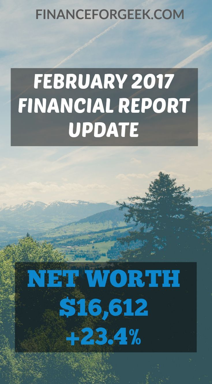Financial Report Update – February 2017 – Net Worth $16,612 (+23.4%)