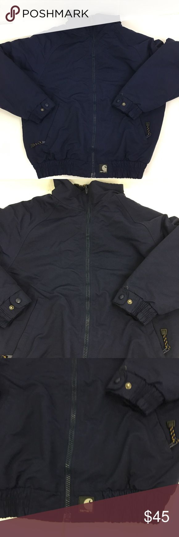 Carhartt Jacket Women's Navy Blue Medium Carhartt Jacket women's medium navy blue, zip front, front pocket with zipper closure polyester fleece lining.  This is more of a jacket not the real thick winter coat. width 22 inches underarm to underarm length 26 inches Carhartt Jackets & Coats