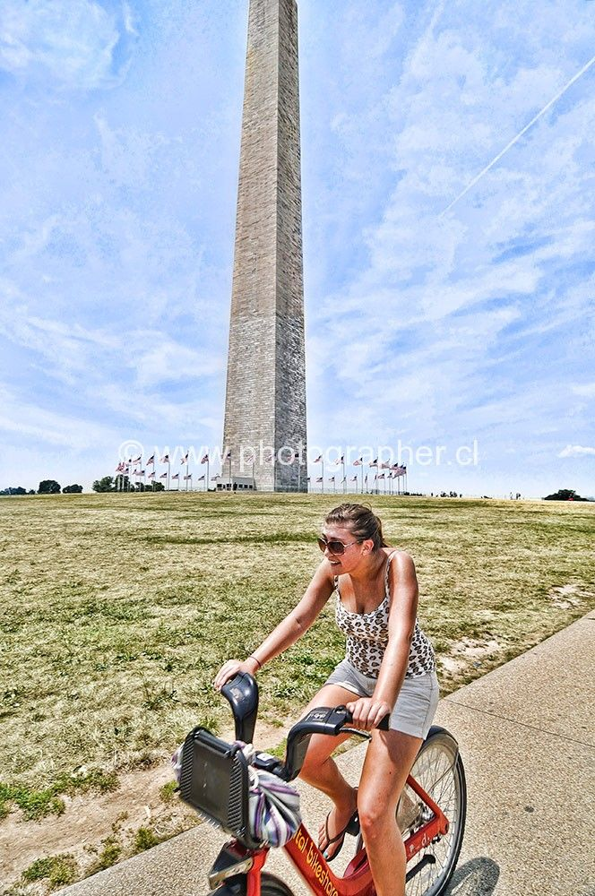 Washington monument bike girl