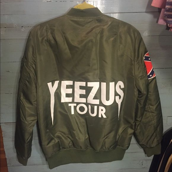Yeezus Tour Bomber Jacket Limited Edition Yeezus Tour Jacket! Hardly worn, still has tag. Size Medium, fits a little small. An awesome way to have a unique bomber Yeezy Jackets & Coats Puffers