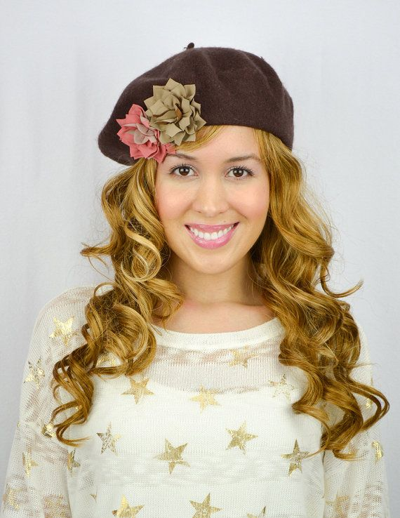 Brown French Beret Hat Flower Hat Brown beauty