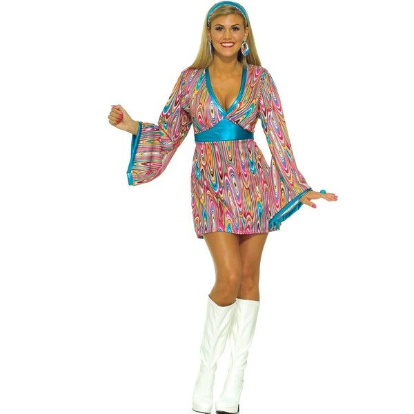 Wild Swirl Dress Adult Costume ($28) ❤ liked on Polyvore featuring costumes, halloween costumes, sexy halloween costumes, adult disco costumes, disco costumes, party halloween costumes and sexy adult halloween costumes