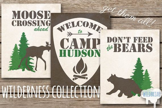 Custom Printable Wall Art Party Decor, welcome to camp sign with child's name don't feed the bears moose woodland theme forest rustic canvas