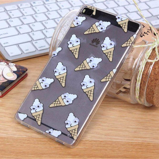 2016 3D Fruit Banana Food Fries Doughnut Fashion Fundas Case Cover For Huawei P8 / P9 Lite Case Series TPU Silicone Phone Cases