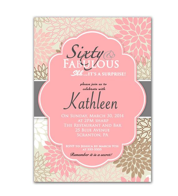 Pink 60th Birthday Invitation Sixty And Fabulous Invite Surprise Party Floral Flower Burst Printable JPG File