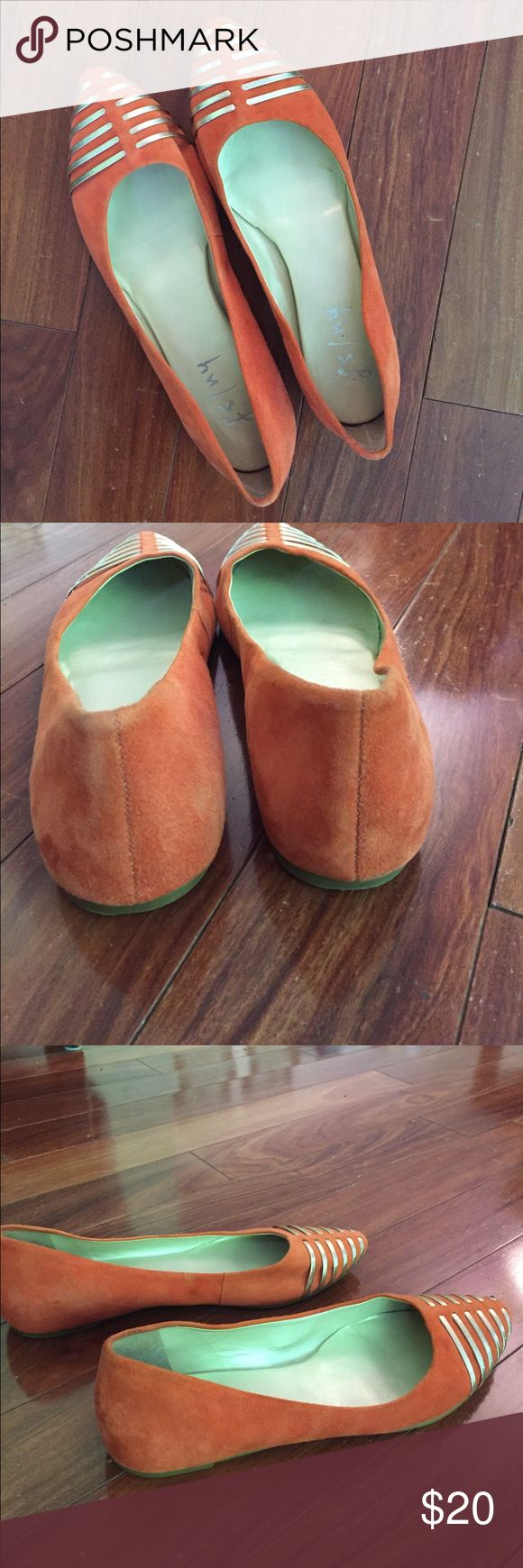 Orange/gold pointed toe flats Hardly worn and in good condition; material is suede like. Super cute and comfortable. Great summer color! Brand says fs/ny. Purchased at Nordstrom Nordstrom Shoes Flats & Loafers