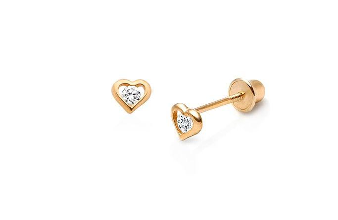 Tiny True of Heart Baby/Children's Earrings, Center CZ, Screw Back - 14K Gold