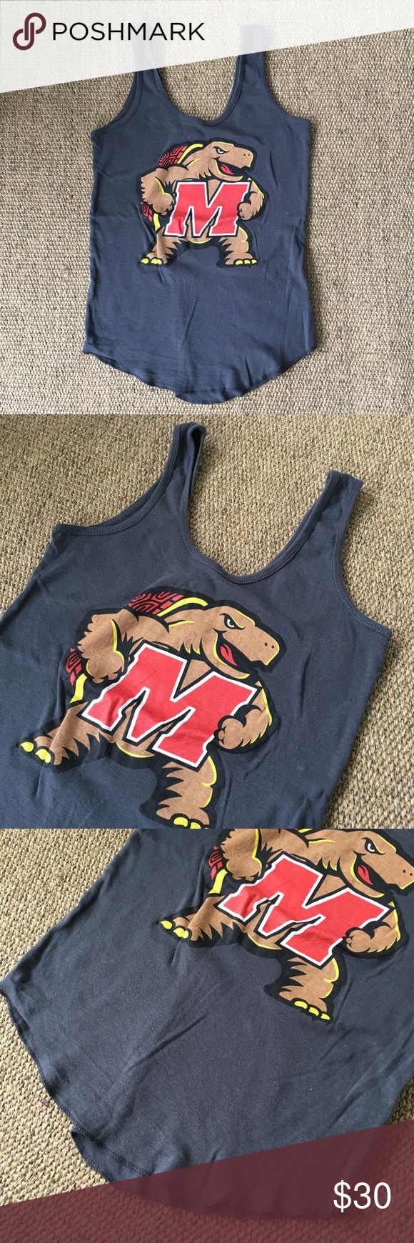 University of Maryland Terrapins Gray Tank XS-S Only worn and washed once. Shrank in the wash, so now better fits XS-S. 100% Cotton. 🐾 Pet-friendly, smoke-free home. 🚫 No trades. No holds. 📦 Fast shipping! 🙋🏻 Considering all reasonable offers! Recycled Karma Tops Tank Tops