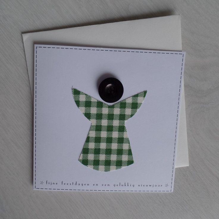 Angel / Engel - Handmade fabric scrap card with vintage button - Handgemaakte en ontworpen kaart met stof en vintage knoop