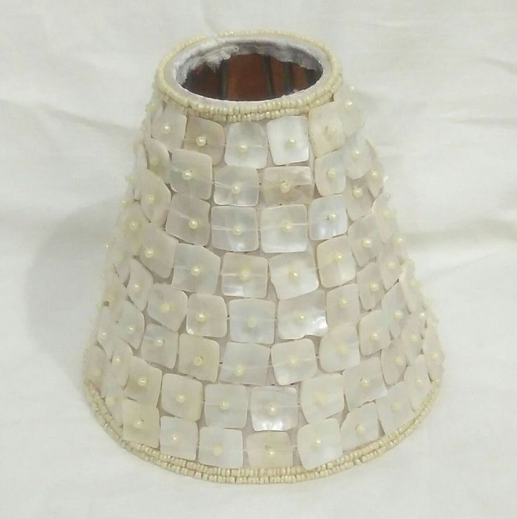 BEAUTIFUL MOTHER OF PEARL & SEED BEAD COVERED ELECTRIC CANDLE LAMP SHADE