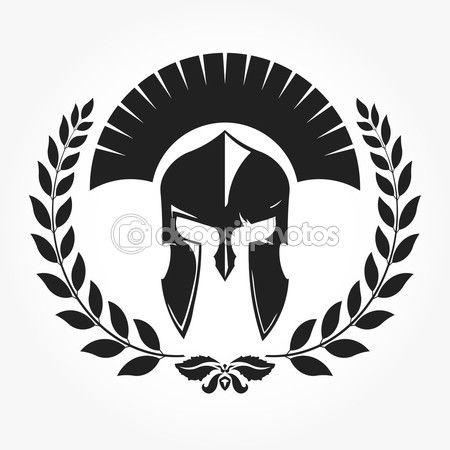 Gladiador, ícone do cavaleiro com a coroa de louros — Ilustração de Stock #75266365